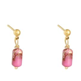 Stalen oorknopjes bolletje met Natuursteen Hangertje Pink