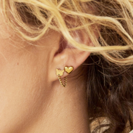 Butterfly Earrings - vlinder met kettinkje Rvs goud