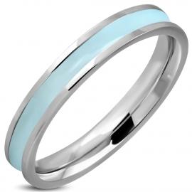 Prachtige Lichtblauwe dames ring edelstaal RVS - Maat 16