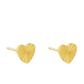Oorbellen Chirurgisch staal hartjes oorknop goud