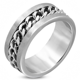 Stalen heren/dames ring schakelketting