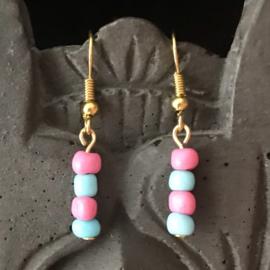 Oorhangers goud dames Pink & Blue