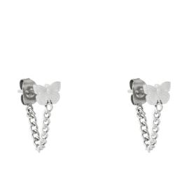Oorbellen chirurgisch staal vlinder met kettinkje rvs zilver