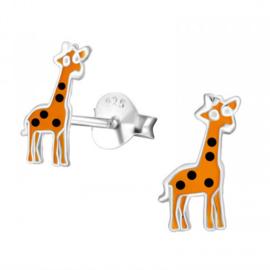 925 Zilveren kinderoorbellen kleine oranje giraffe