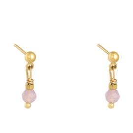 Stalen oorknopjes  goud met roze kralen hangertje