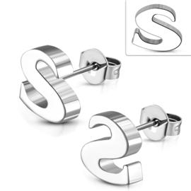 Letter S Oorknopjes  chirurgisch staal