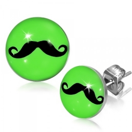 Grappige fluor groene Snor chirurgisch staal oorbellen MUSTACHE Green