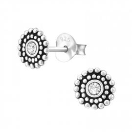 Zilveren dames flower oorbellen Bali look met kristal