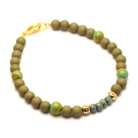 Dames kralen armband olijf groen & goud