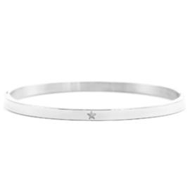 Zilverkleurige Bangle armband Rvs met ster