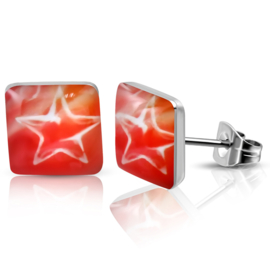 Rode Vierkante chirurgisch staal Oorbellen met Ster