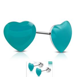 Schattige Petrol Hartjes chirurgisch staal oorbellen