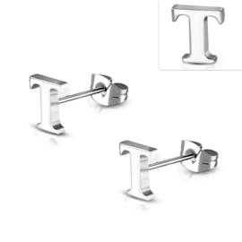 Letter T zilverkleurige chirurgisch staal oorbellen kleine knopjes