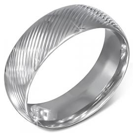 Brede Gestreepte zilverkleurige heren ring staal  ringmaat 22