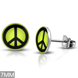 PEACE oorbellen RVS colors
