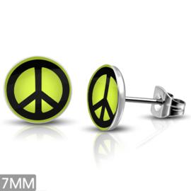 PEACE oorbellen RVS colors