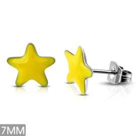 Gele stalen sterren oorbellen knopjes