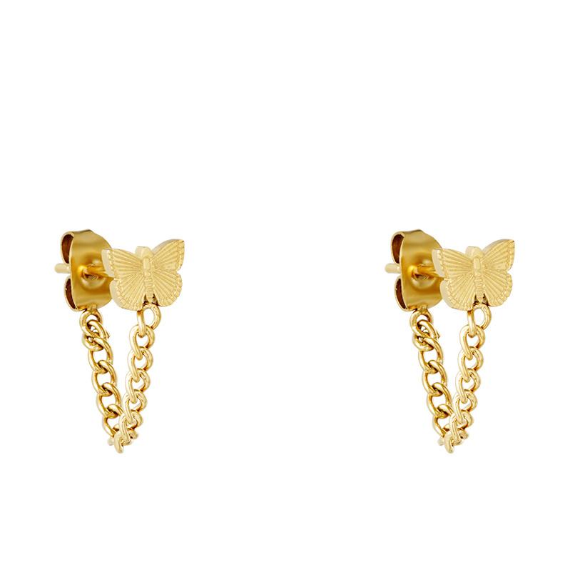 Oorbellen Chirurgisch Staal Butterfly - vlinder met kettinkje goud