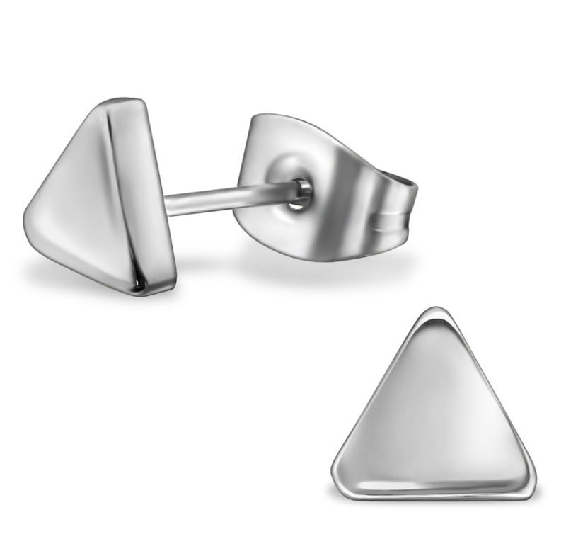 Driehoek Triangle stalen oorknopjes zilver
