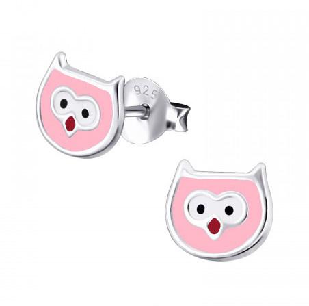 Zilveren kinder Uiltjes oorbellen roze