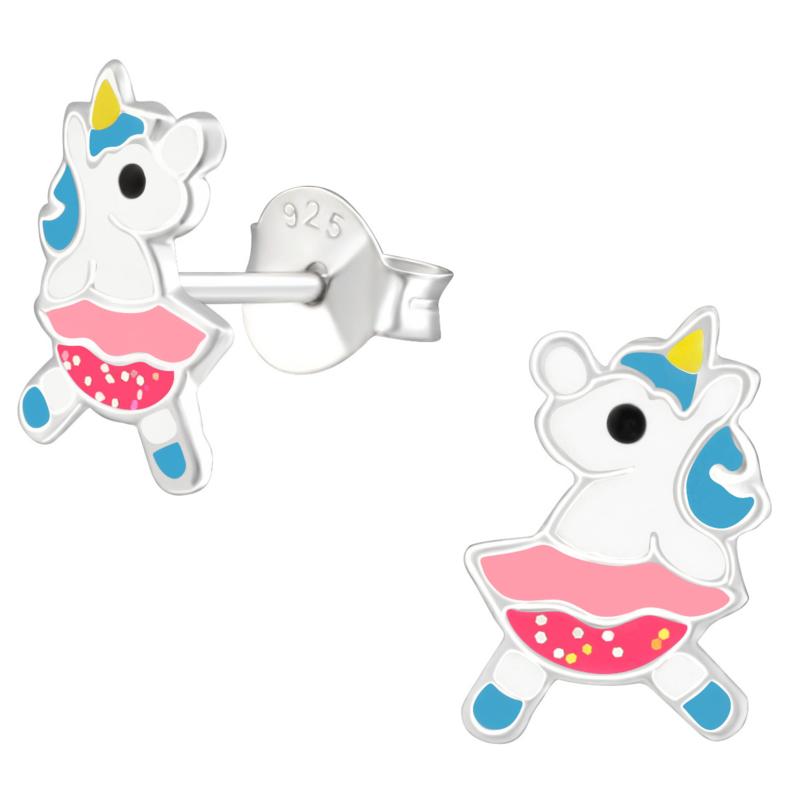 Dansende Unicorn Eenhoorn kinderoorbellen zilver