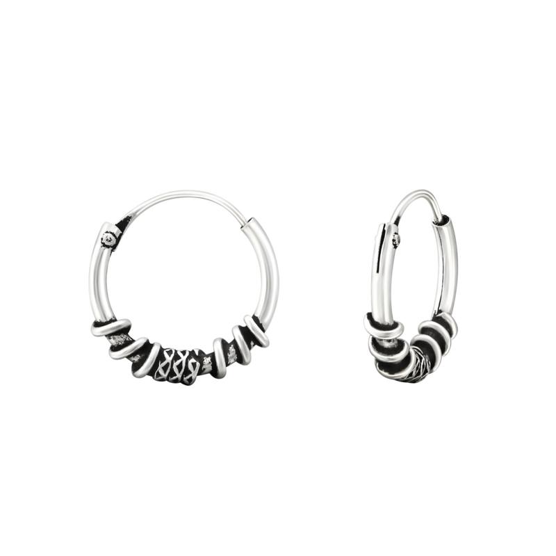 Zilveren Bali oorringen Wire