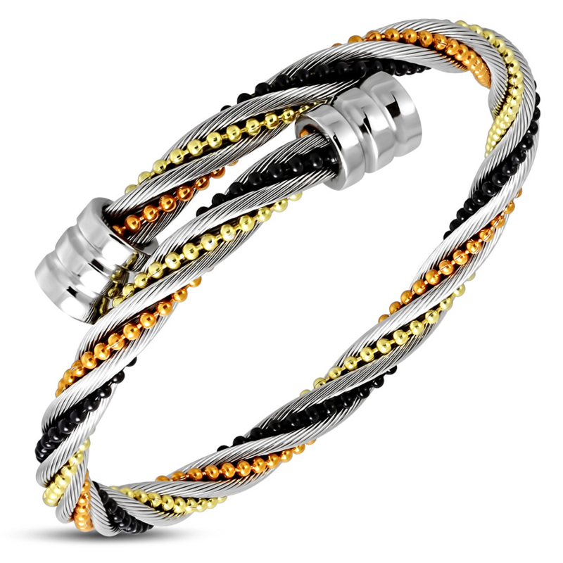 Stalen Bangle twisted vier kleuren armband