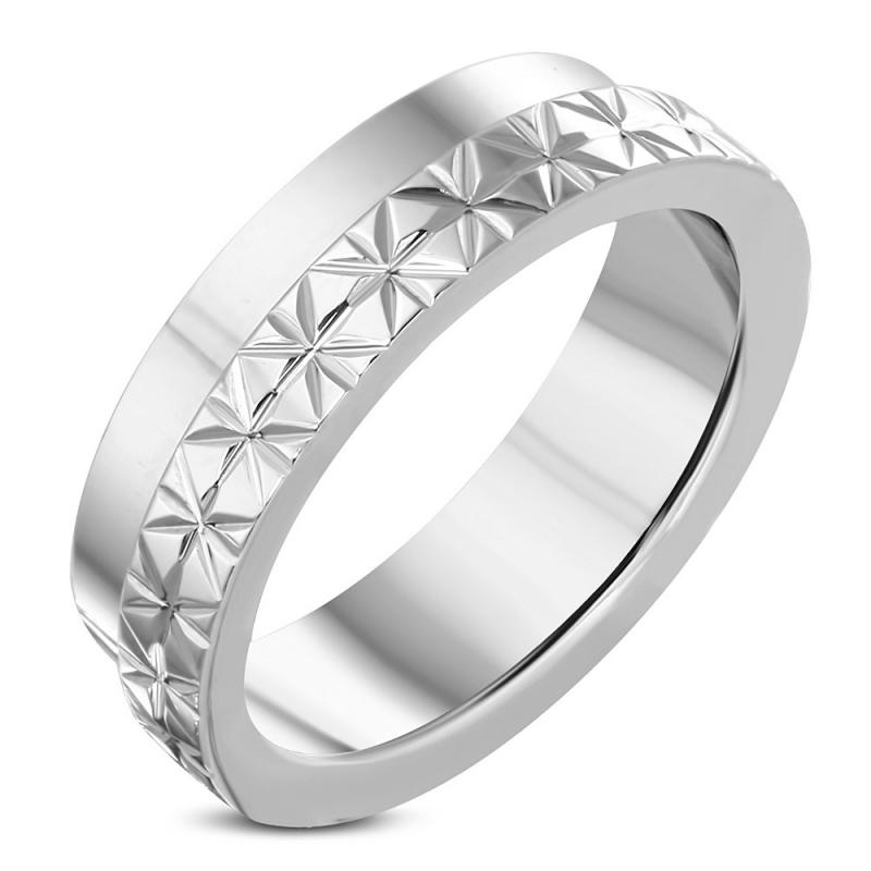 Stalen ring met ster patroon  - Ringmaat 19