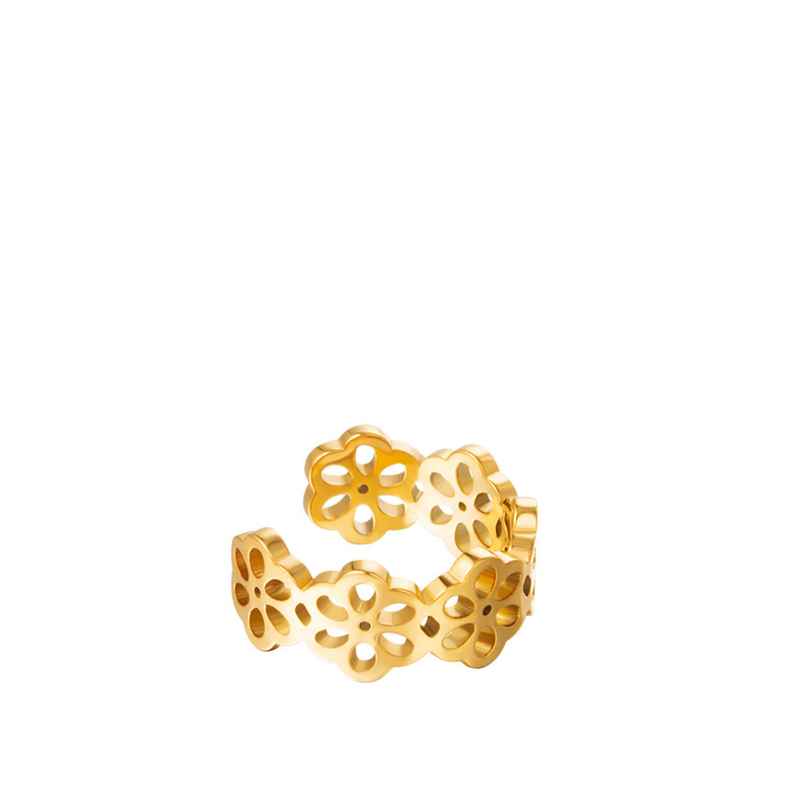 Ear Cuff Chirurgisch Staal Flowers goud