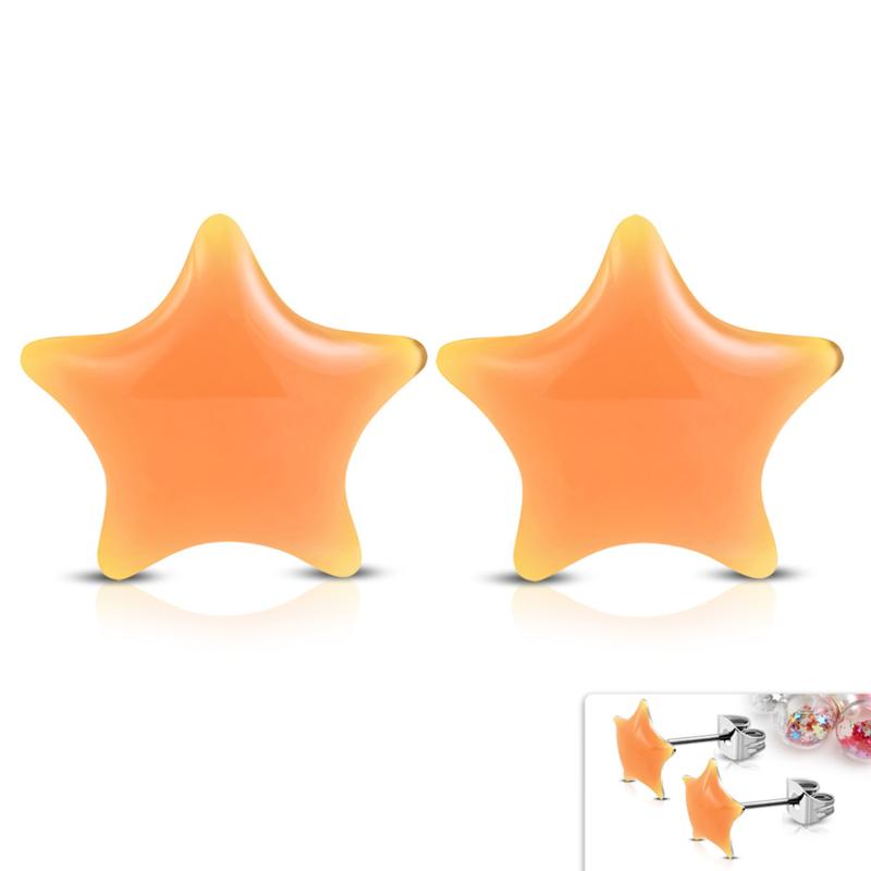 Mooie Zalmroze sterren oorknopjes chirurgisch staal