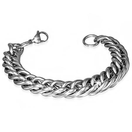 Brede schakelarmband heren staal - 22 cm