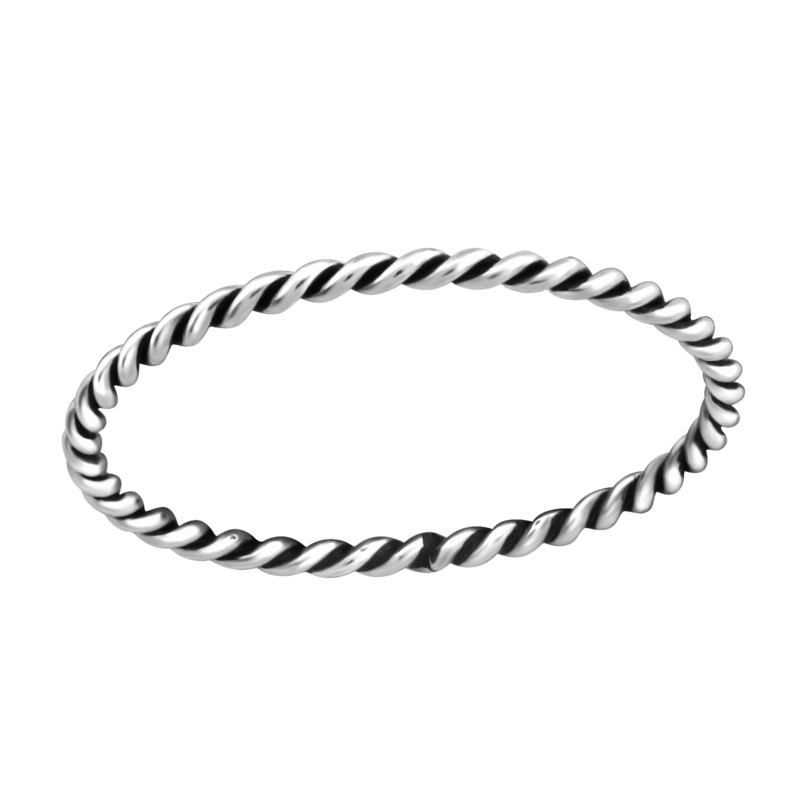 Twisted dunne Bali ring 925 sterling zilver