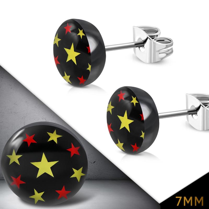 Zwarte ronde chirurgisch staal oorknopjes met gekleurde sterren