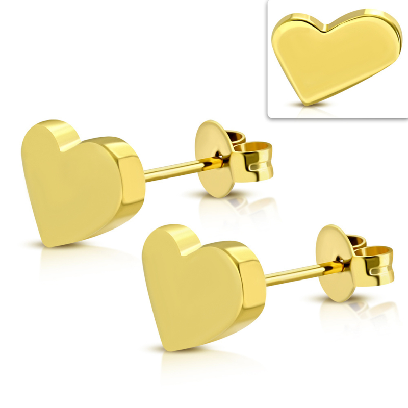 Hartjes oorknopjes chirurgisch staal gold plated