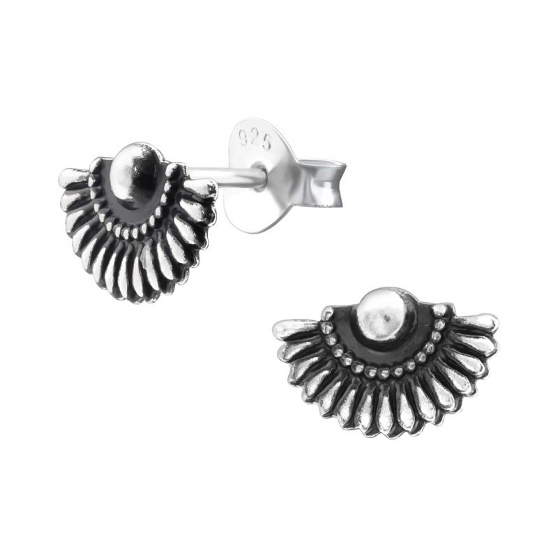 Zilveren waaier oorbellen Bali stijl