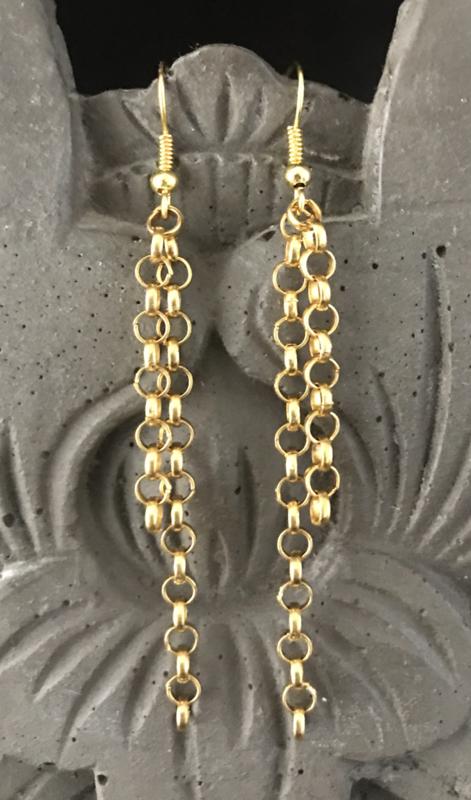 Oorbellen met kettinkjes goud