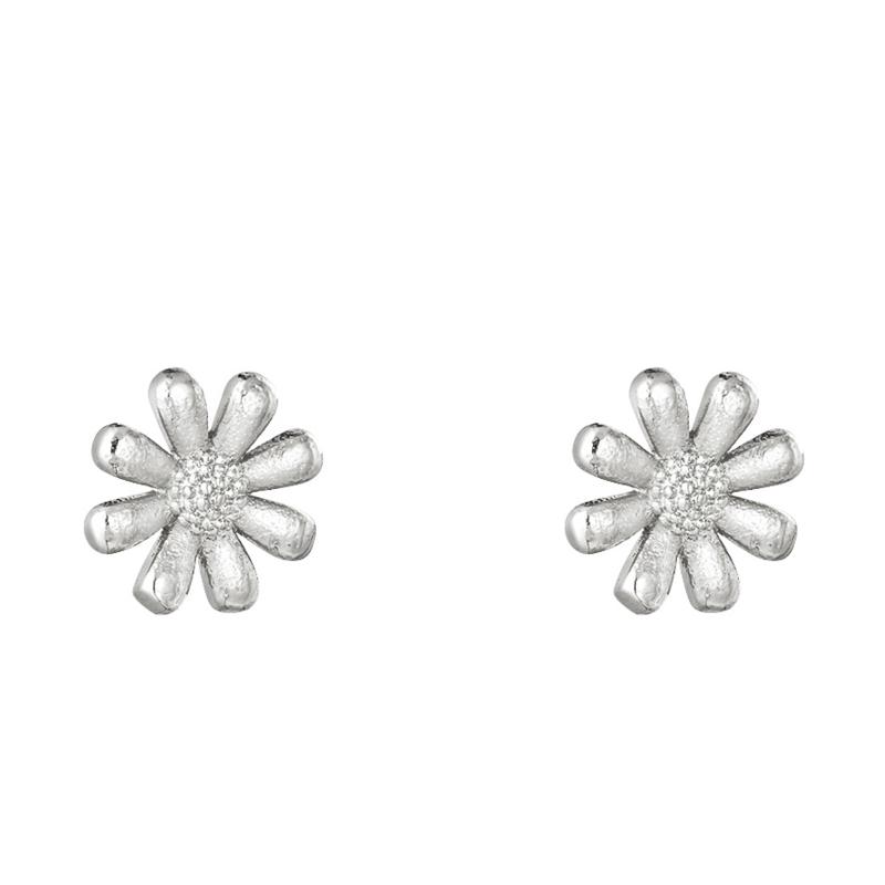Kleine bloemetjes oorknopjes staal zilver