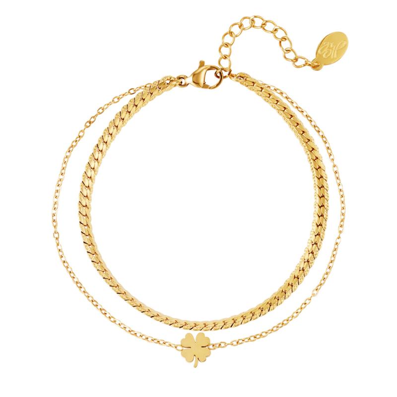 Dubbele armband staal goud met klavertje vier