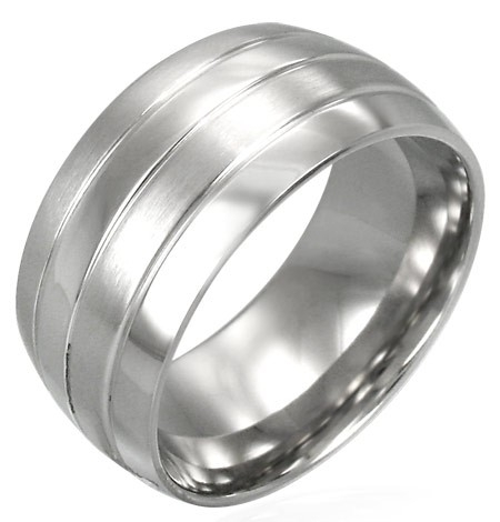 Stainless steel dames of heren ring B072 - Ringmaat 21
