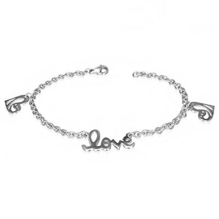 Roestvrij stalen zilverkleurige armband met tekst LOVE