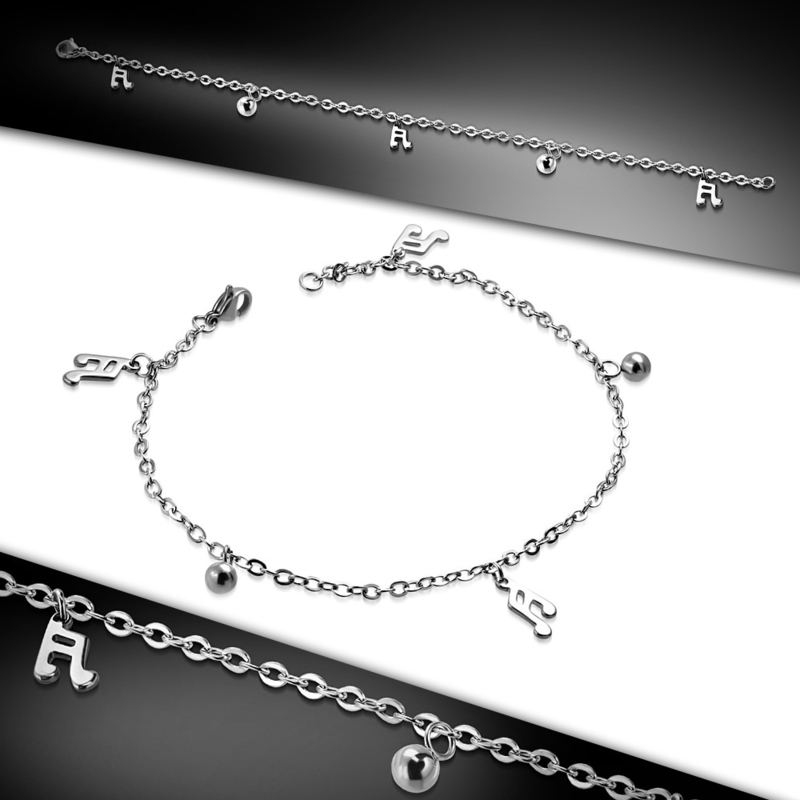 Stalen dames armband met muzieknoten bedeltjes