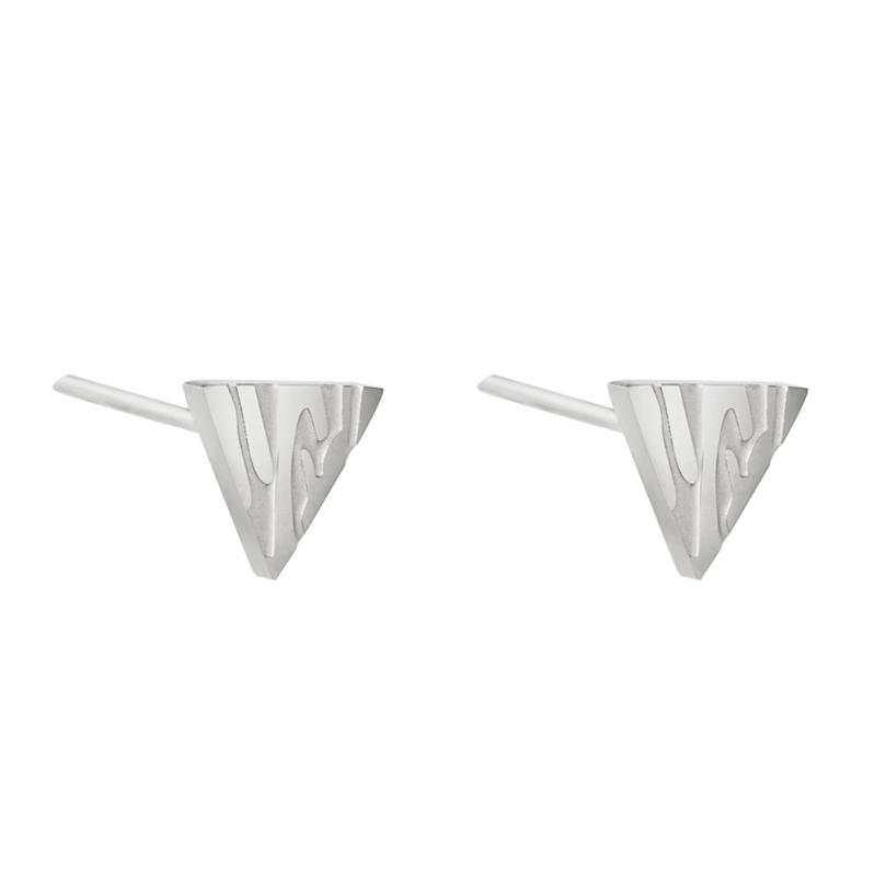 Oorbellen chirurgisch staal driehoek met dierenprint zilver