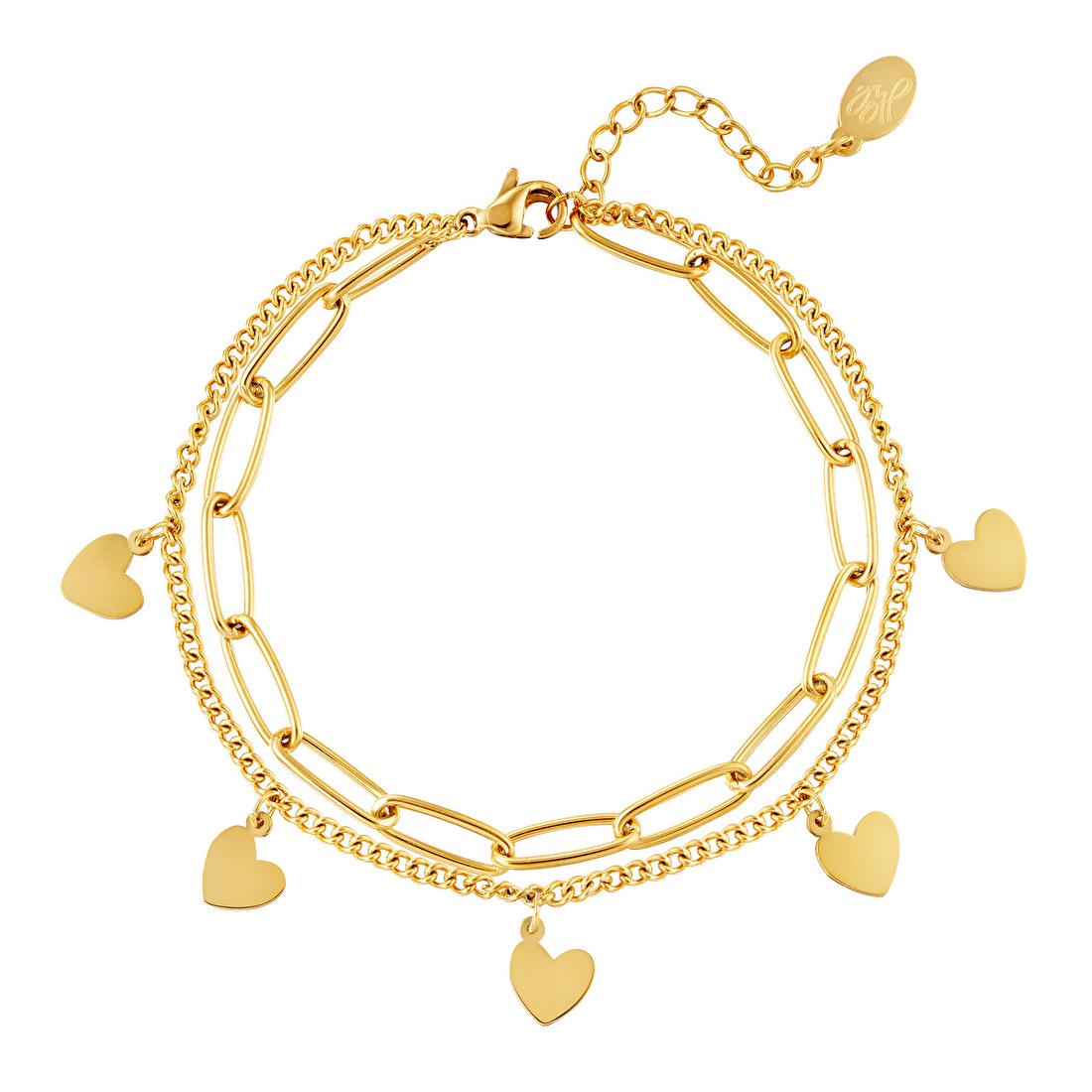 Dubbele armband dames goud