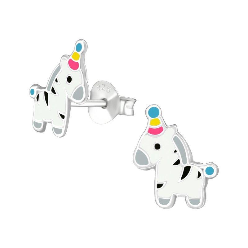 Kinderoorbellen zilver zebra oorbellen
