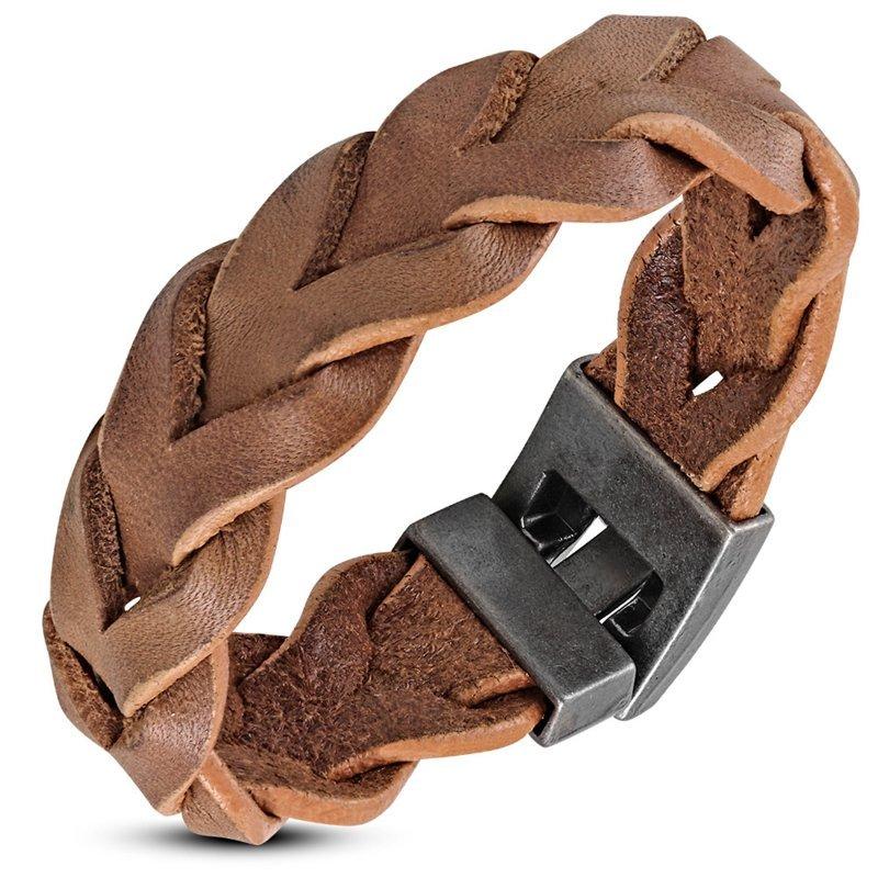 Gevlochten bruine heren armband