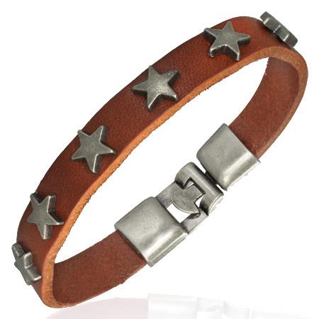 Leren armband sterren studs