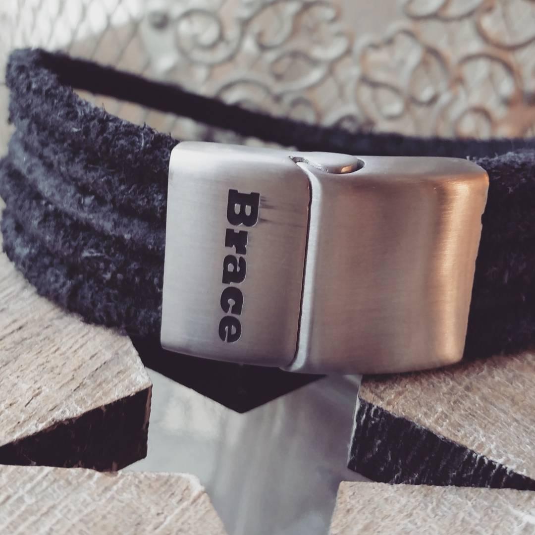 Brace zwarte leren armband met rvs sluiting