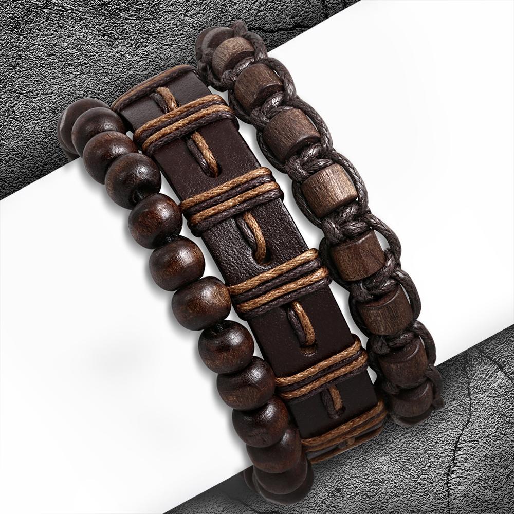 Leren armbanden set voor mannen