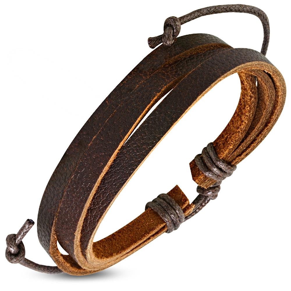 Bruine leren armband mannen