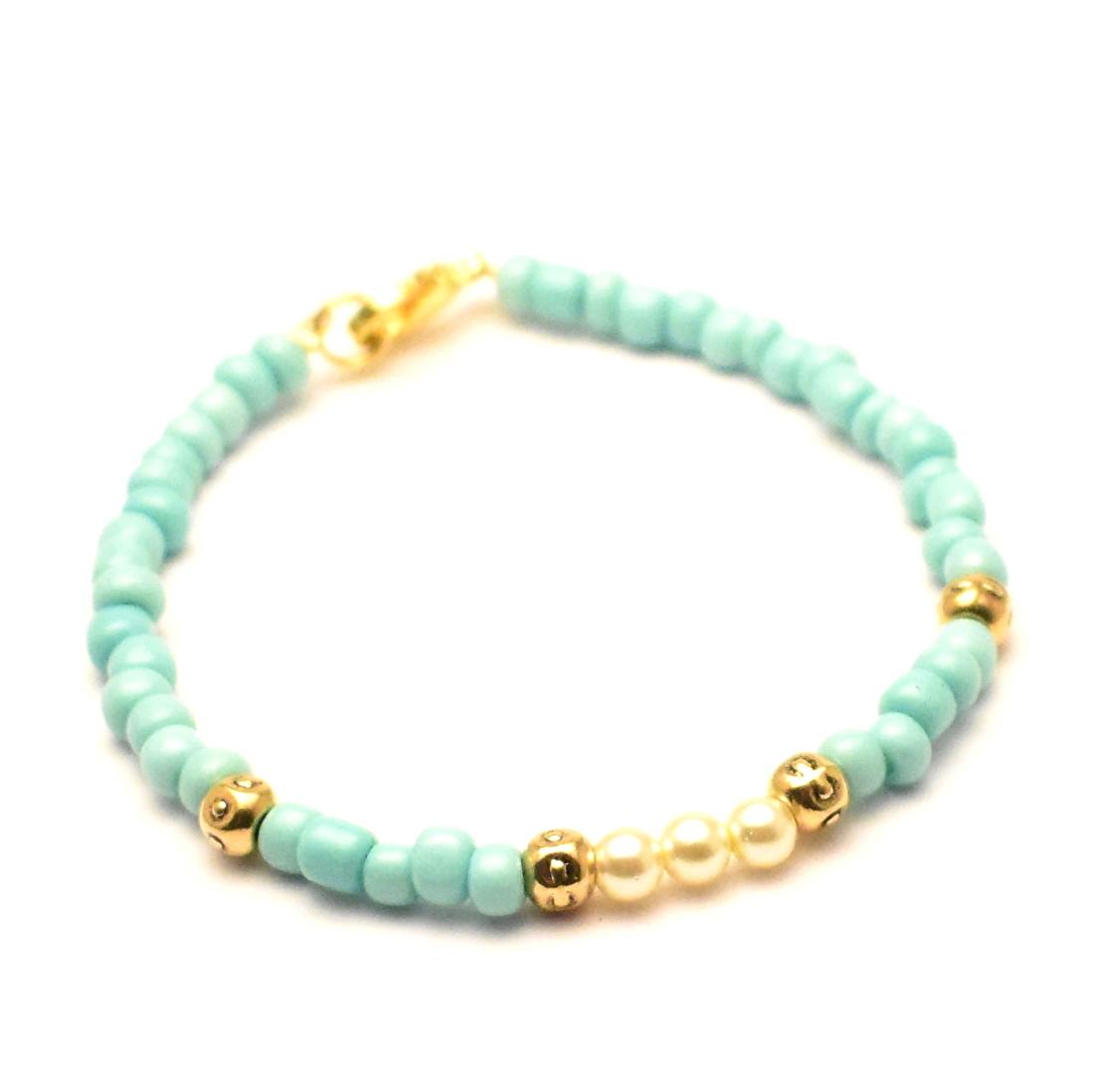 Armband kralen rocailles en parels turquoise goudgoud